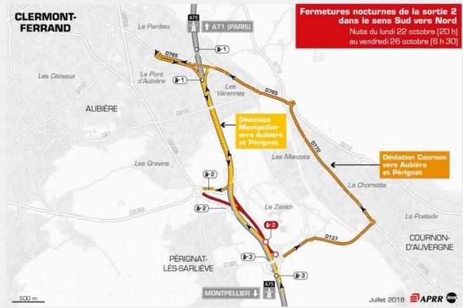 Clermont-Ferrand : nouvelles fermetures nocturnes sur l'A75